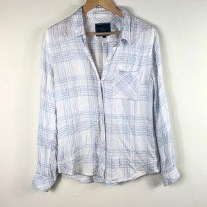 Rails light Blue and White Plaid Soft Button Shirt